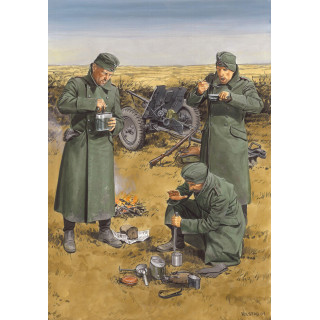 Model Kit figurky 6697 - CHOW TIME GERMAN ANTI-TANK GUN CREW w/3,7cm PaK 35/36 (1:35)