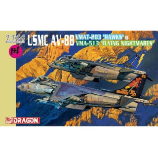 "Model Kit letadlo 4617 - USMC AV-8B VMAT-203 ""HAWKS"" & VMA-513 ""FLYING NIGHTMARES"" (1:144)"
