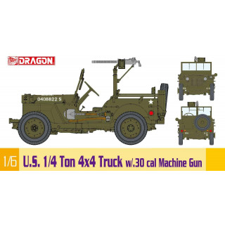Model Kit military 75050 - 1/6 U.S. 1/4 Ton 4x4 Truck w/.30 cal Machine Gun (1:6)