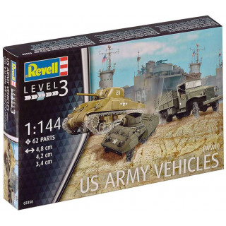 Plastic ModelKit military 03350 - US Army vehicles WWII  M4 Sherman & M8 Greyhound & CCKW Truck (1:144)