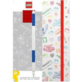 LEGO Stationery Zápisník A5 s modrým perem - bílý, červená destička 4x4
