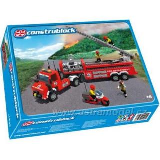 Construblock - Hasičské auto se žebříkem a motorka