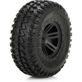 ECX 1:10 AMP DB - Disk kola s pneu přední (2)