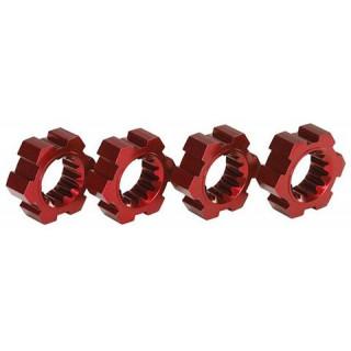 Traxxas náboje kol hliníkové červené (2): X-Maxx