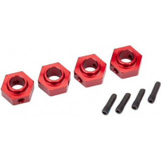 Traxxas náboj kola 12mm hliníkový červený (4): TRX-4