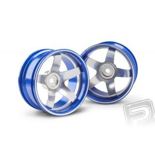 Hliníkový disk 5 paprsků, offset 6 mm - modrá barva (2 ks)