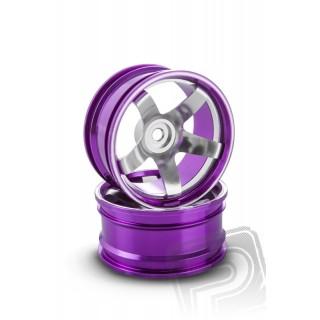 Hliníkový disk 5 paprsků, offset 9 mm - fialová barva (2 ks)