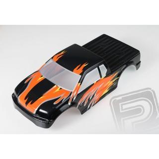 Lakkozott karosszéria Himoto Truck 1:10 (fekete-narancssárga)