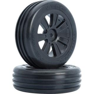 VTEC Groove 2WD első, fekete felnire ragasztott gumi - 1/10 Buggy J-keverék