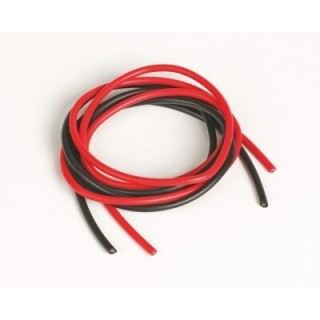 Szilikon kábel 2,6qmm, 13AWG, 2x1méter, fekete - piros