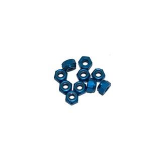 3 mm. alu samojistné matičky modré (10 ks.)