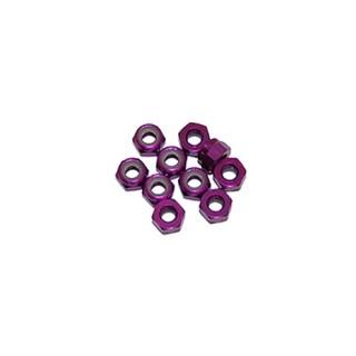 4 mm.alu samojistné matičky fialové (10 ks.)