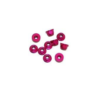 4 mm.alu samojistné matičky s osazením růžové (10 ks.)