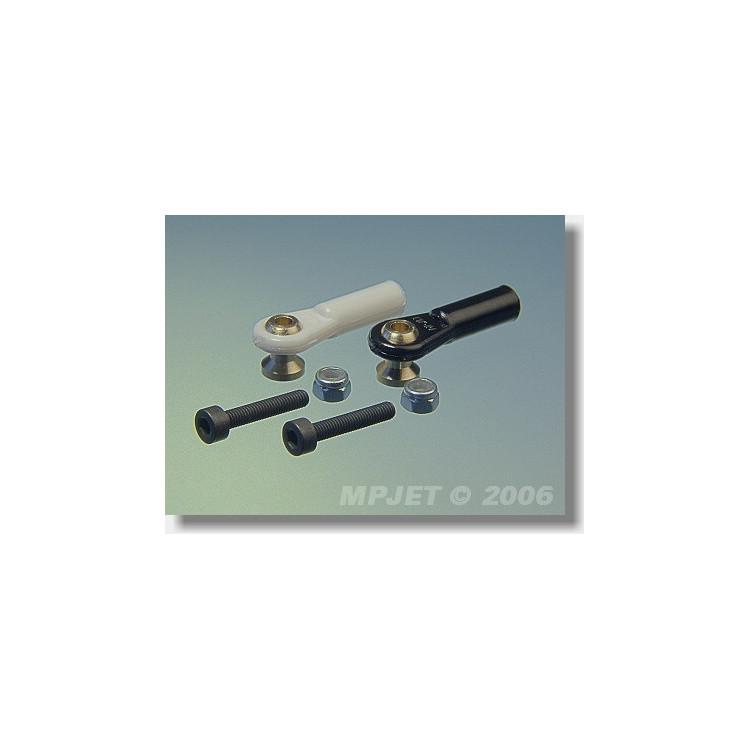 2457 Kulový čep V1, pr.7mm, M3/3 Krátký Černý 6ks