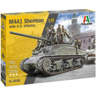 Model Kit tank 6568 - M4A1 Sherman with U.S. Infantry (1:35)