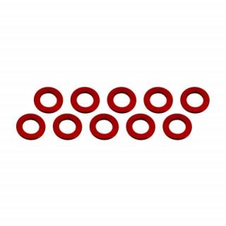 3x6x0,5mm alu alátét, piros (10 db.)