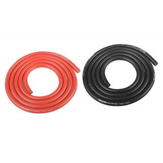 Szilikon kábel 5,5qmm, 10AWG, 2x1 méter, fekete és piros