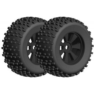 Off-Road 1/8 Monster ragasztott gumik - Gripper - fekete felnik - 1 pár