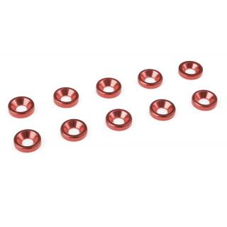 Hliníkové podložky pro M3 šrouby s zápustnou halvou, průměr 8mm, červené, 10 ks.