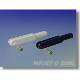 2124 Műanyag villa, l,44 mm, horony szélessége 3, csap átmérő 2,5, M3 fehér 2db