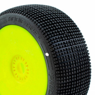 ADDICTIVE V2 BUGGY C1 (SUPER SOFT) ragasztott gumik, sárga felnik (2db.)
