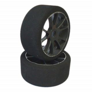 1/8 GT mechové gumy tvrdost: 35 Shore, nalepené gumy, černé disky, 2ks.