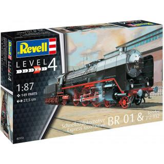 Plastic ModelKit lokomotiva 02172 - Schnellzuglok BR01 mit Tender 2'2' T32 (1:87)